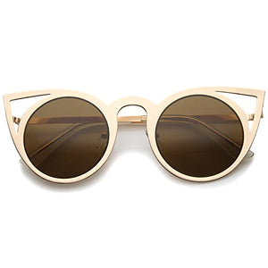 637f10980c zeroUV - Womens Fashion Round Metal Cut-Out Flash Mirror Lens Cat Eye  Sunglasses (