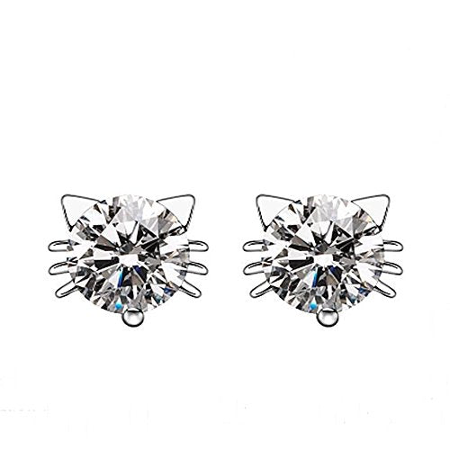 Diamond Crystal Inlaid Cat Stud Earrings, Cubic-Zirconia