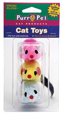 3 Pack Felt Mice Toys Assorted Colors
