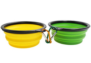 Green and Blue Silicone Dog and Cat Bowls