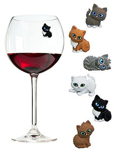 Cat Wine Glass Identifiers by Simply Charmed, 5.7 x 1.7 x 0.5 inches