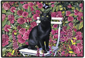 "Black Cat in the Rose Garden Felines Doormat, 27"" x 18"""