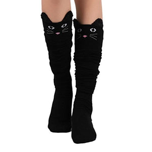 Womens Over Knee Cat Catoon Socks by OVERMAL, 70% Cotton
