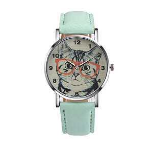 Watch Cat with Orange Glasses Leather Watch (Green)