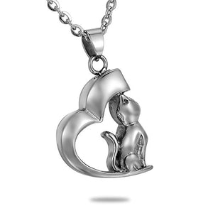 Loving Cat Kitty Cremation Urn Necklace by HooAMI