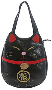 Black Vinyl Tote Bag - Lucky Cat Themed, 14 x 2 x 14 in