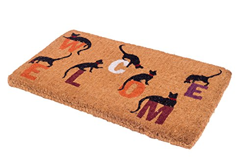 Handwoven Thick Typographic Doormat: Cat Welcome