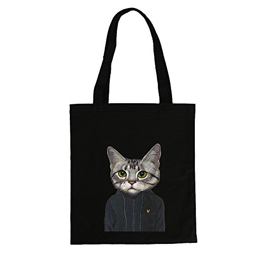 Black Tote Bag Cat with Hoodie Print (12.99 x 16.54inch) by ASAPS