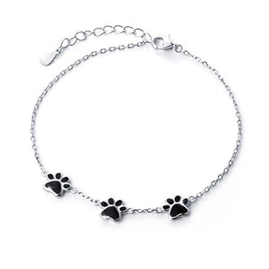Solid 925 Sterling Silver Cat Paw Print Bracelets, 2.12g