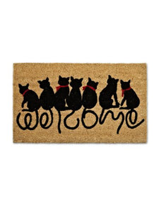 "Cat Tails ""Welcome"" Doormat, Made of Coir Coco Palm Fiber"