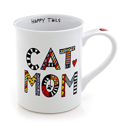 """Cat Mom"" Our Name is Mud Cuppa Doodle Mug, Happy Tails Written Inside"