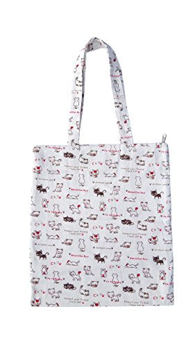 Cotton Tote Shoulderbag with Lovely Cats with Lovely Typographiy Design, Non-toxic