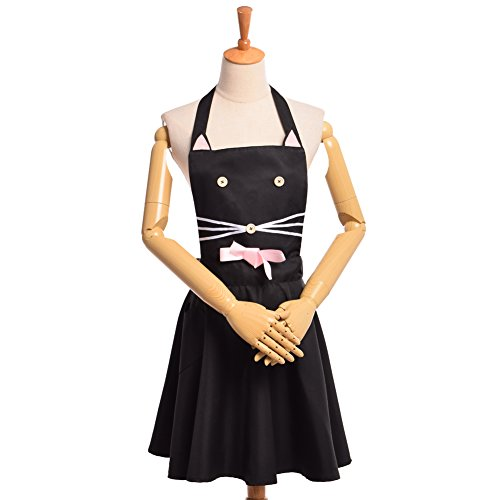 Black Cat with Pink Ears Women Kitchen Apron