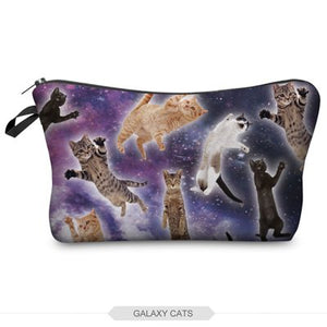 Galaxy Cats Print Beauty Women In Hand Makeup Bag