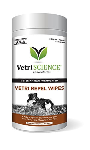 Vetri Repel, Natural Flea and Tick Repellant for Cats by VetriScience, 60 Wipes