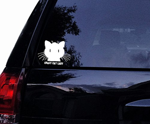 Cat Vinyl Car Decal, Crazy CAT Lady, Easy Instructions included