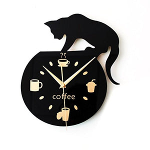 Wood Cartoon Wall Clock Cute Climbing Cat Clock by WINOMO