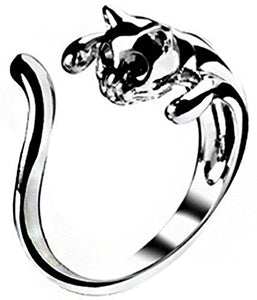 Mikiy Cat Open Alloy Ring, Glass and Metal