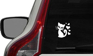Cat Heart Cartoon Car Vinyl Sticker Decal, 3.5 x 3.5 inches