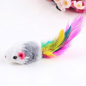 Bright Feather Colorful Playing Mice Toys