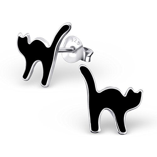 S925 Solid Sterling Silver Stud Earrings, Black Cats