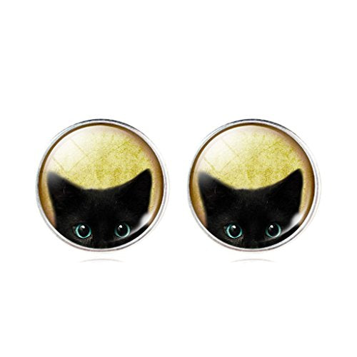 Womens Mystic Pet Cat Art Pattern Earrings