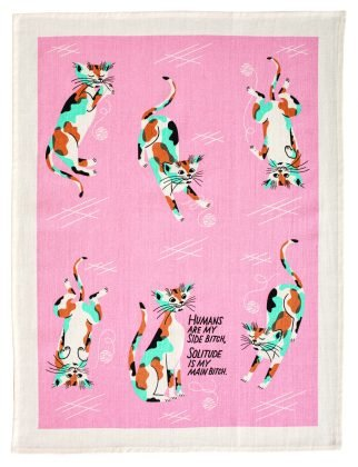 Cat Dish Towel: Humans Are My Side Bitch, Solitude is My Main Bitch