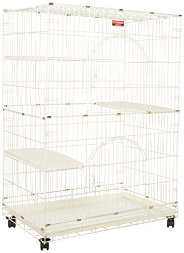 White Foldable Cat Cage With Casters