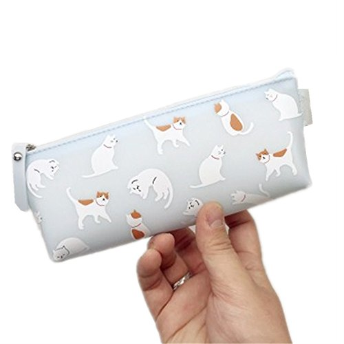 Pencil Case with Cute White Cats Design, 7.9