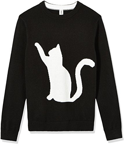 Black Jacquard Knit Pullover Featuring Curious White Cat Design