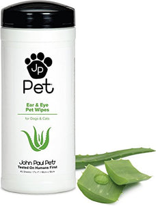 John Paul Pet Ear and Eye Pet Wipes, Aloe-infused to Gently Condition