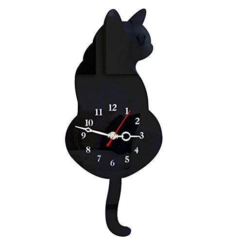 Black Cat Wall Clock, Acrylic Surface