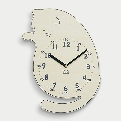 Deco-friendly Playful Cat Shaped Absolute Silent 11-Inch Wall Clock