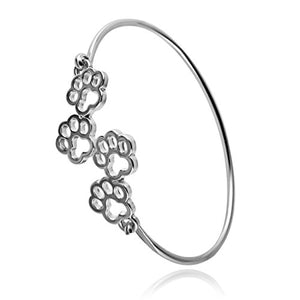 Cat Four Paw Design Hook Opening Bracelet Jewelry(silver)