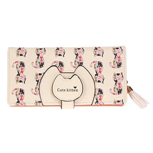 Dainty Cats Allover Snap Bifold Wallet by Damara, Zipper Closure