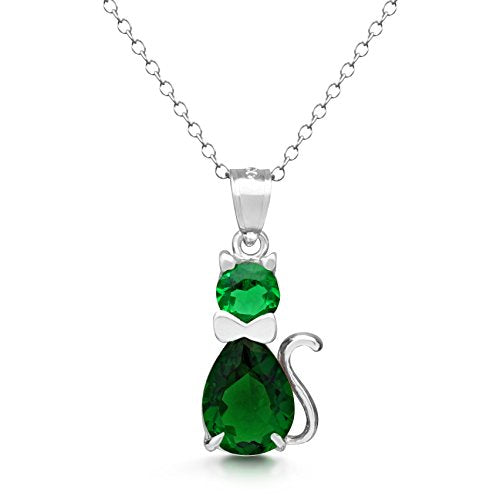 Fancy Simulated Birthstone CZ Cat Necklace