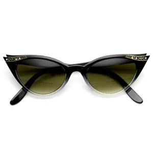 Vintage Inspired Mod Womens Fashion Rhinestone Cat Eye Sunglasses