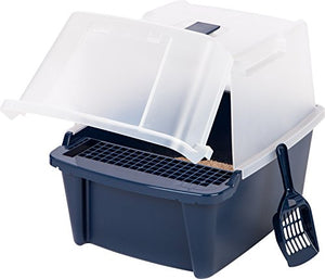 "Large Split-Hood Litter Box by IRIS, 19""L x 15""W x 15.5""H"