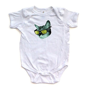 Baby White Bodysuit with Cat Wearing Yellow Glasses Print