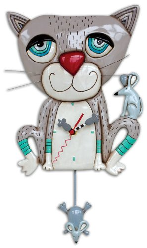 Gray Cat Pendulum Wall Clock by Made by Allen Designs