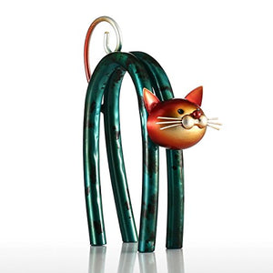 Modern Handmade Craft Elegant Metal Cat Sculpture for Desk
