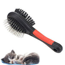 Double Sided Pin & Bristle Combo Brush for Cats & Dogs, Red/Black