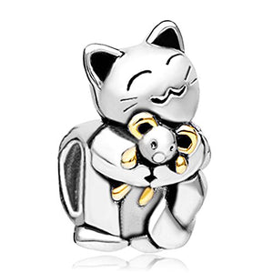 Smiling Cat Hugging Mouse Beads For Bracelets, 4.8mm x 5mm