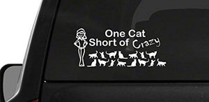 Vinyl Decal Sticker - One Cat Short Of Crazy Lady - Made in The USA
