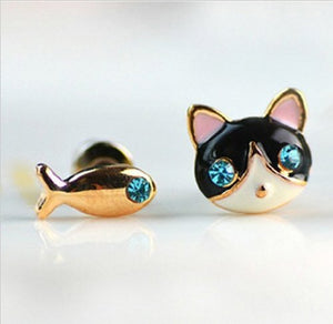 Fish Stud and Black&White Cat Designs Earring