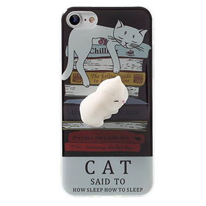 Squishy Cat iPhone 7 Case, Sleeping Cat on the Books