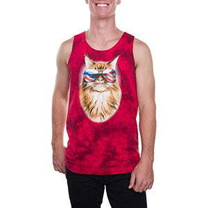 Feline Freedom Yellow Cat in Sunglasses Mens Graphic Red Tank Top