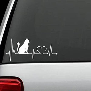 Cat Heartbeat Lifeline Decal, Easy To Apply