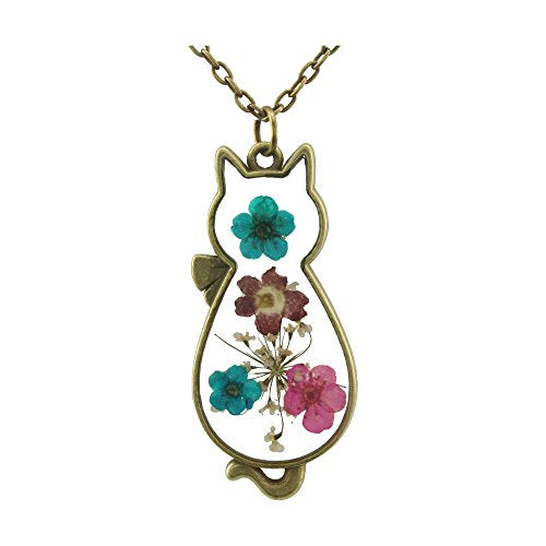 Handmade Flowers Cat Shape Necklace, Dried Flowers, Simulated Resin, Cord