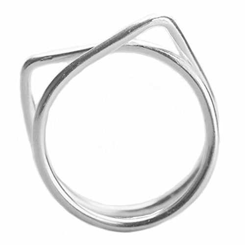 Cat Ear Shaped Sterling Silver Ring, 2.7 x 2.5 x 2 inches